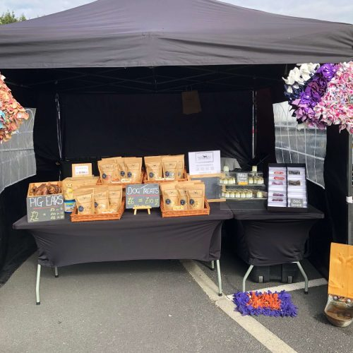 The market stall fully set up